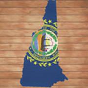 New Hampshire Rustic Map On Wood Art Print