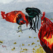 New Harmony Roosters Art Print