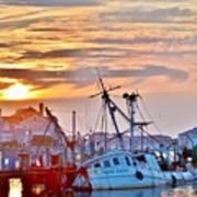 New Hope Sunrise - Sunken Ship At West Ocean City Harbor Art Print