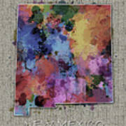 New Mexico Map Color Splatter 5 Art Print