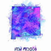 New Mexico Map Watercolor 2 Art Print