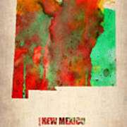 New Mexico Watercolor Map Art Print by Naxart Studio