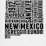 New Mexico Word Cloud Map 2 Art Print