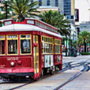New Orleans Canal Streetcars  Art Print