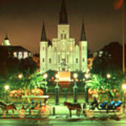 New Orleans Night Photo - Saint Louis Cathedral Art Print