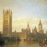 New Palace Of Westminster From The River Thames Art Print by David Roberts