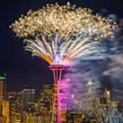 New Year Fireworks - Seattle Art Print