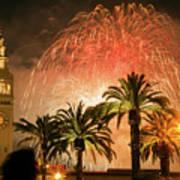 New Years Fireworks Finale San Francisco Art Print