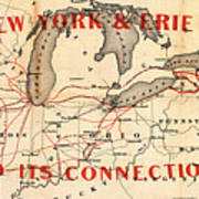 New York And Erie Railroad Map 1855 Art Print