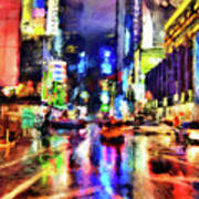 New York At Night - 14 Art Print