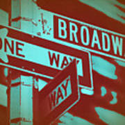 New York Broadway Sign Art Print by Naxart Studio