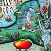 New York Cartoon Map Art Print