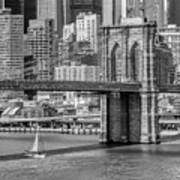 New York City Brooklyn Bridge And East River Art Print