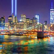 New York City Brooklyn Bridge Tribute In Lights Freedom Tower World Trade Center Wtc Manhattan Nyc Art Print