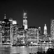 New York City Bw Tribute In Lights And Lower Manhattan At Night Black And White Nyc Art Print