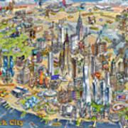 New York City Illustrated Map Art Print
