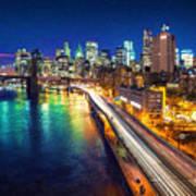 New York City Lights Blue Art Print