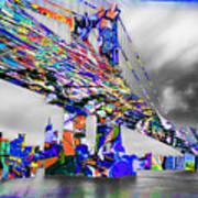 New York City Manhattan Bridge Pure Pop Blue Art Print