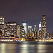 New York City - Manhattan Waterfront At Night Art Print