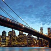 New York City Skyline By Night Art Print