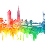 New York City Skyline Color Art Print
