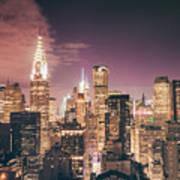 New York City Skyline - Night Art Print