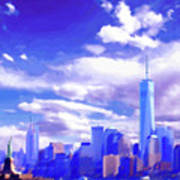 New York City Skyline With Freedom Tower Art Print