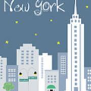 New York City Vertical Skyline - Empire State At Dusk Art Print