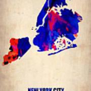 New York City Watercolor Map 1 Art Print