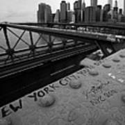 New York City You're Beautiful Brooklyn Bridge Ny Black And White Art Print