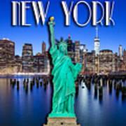 New York Classic Skyline With Statue Of Liberty Art Print