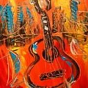 New York Guitar Art Print