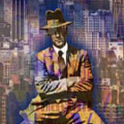 New York Man Seated City Background 1 Art Print