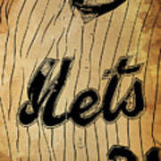 New York Mets 21 Red And Blue Vintage Cards On Brown Background Art Print