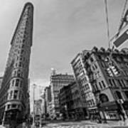 New York Ny Flatiron Building Fifth Avenue Black And White Art Print