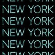 New York - Pale Blue On Black Background Art Print