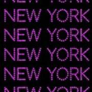 New York - Pink On Black Background Art Print