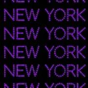 New York - Purple On Black Background Art Print