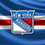 New York Rangers - 3d Badge Over Flag Art Print