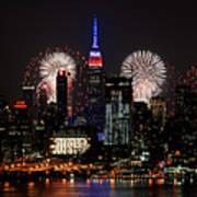 New York Skyline And Fireworks Art Print