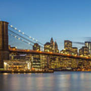 New York Skyline - Brooklyn Bridge Art Print