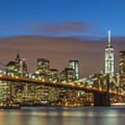 New York Skyline - Brooklyn Bridge Panorama - 2 Art Print