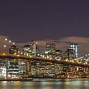 New York Skyline - Brooklyn Bridge Panorama - 3 Art Print