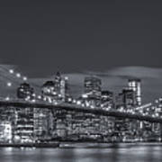 New York Skyline - Brooklyn Bridge Panorama - 4 Art Print