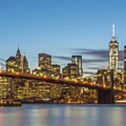New York Skyline - Brooklyn Bridge Panorama Art Print