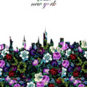 New York Skyline Floral 3 Art Print