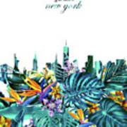 New York Skyline Floral  6 Art Print
