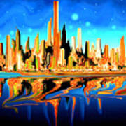 New York Skyline Blue Orange - Modern Art Art Print