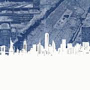 New York Skyline Map 2 Art Print