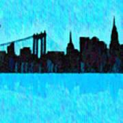 New York Skyline Silhouette Cyan - Da Art Print